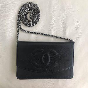 CHANEL Wallet on Chain Caviar Black Silver Chain